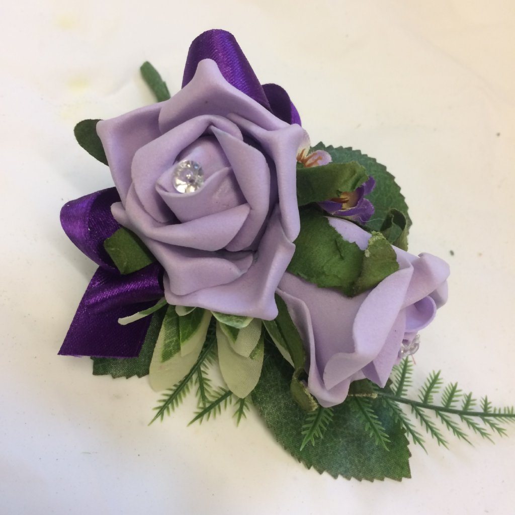 lilac rose corsage