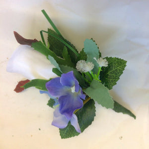 white and blue buttonhole