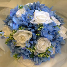 bridal bouquet of silk blue and white flowers