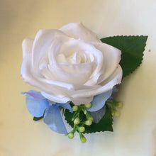 white silk rose buttonhole