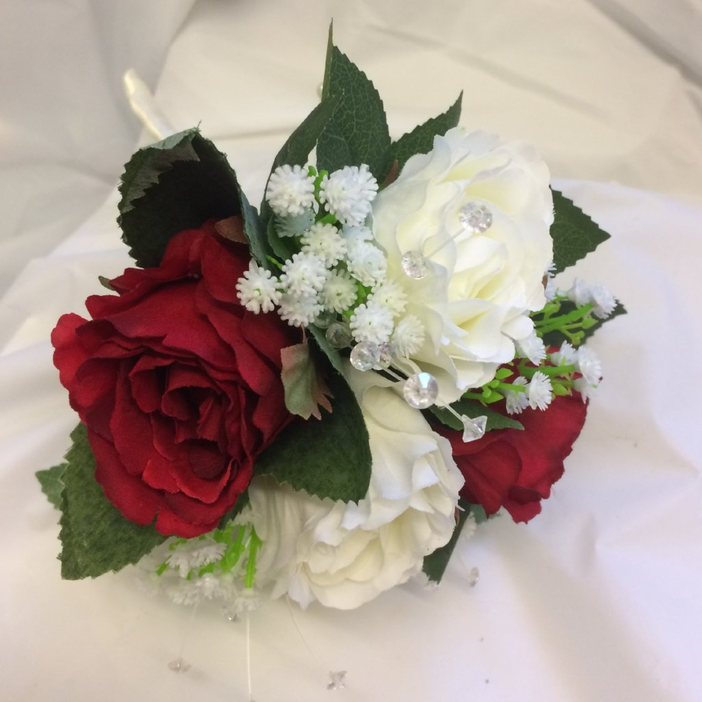 bridesmaids posy of red and ivory artificial silk roses