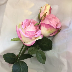artificial pink and white spray rose