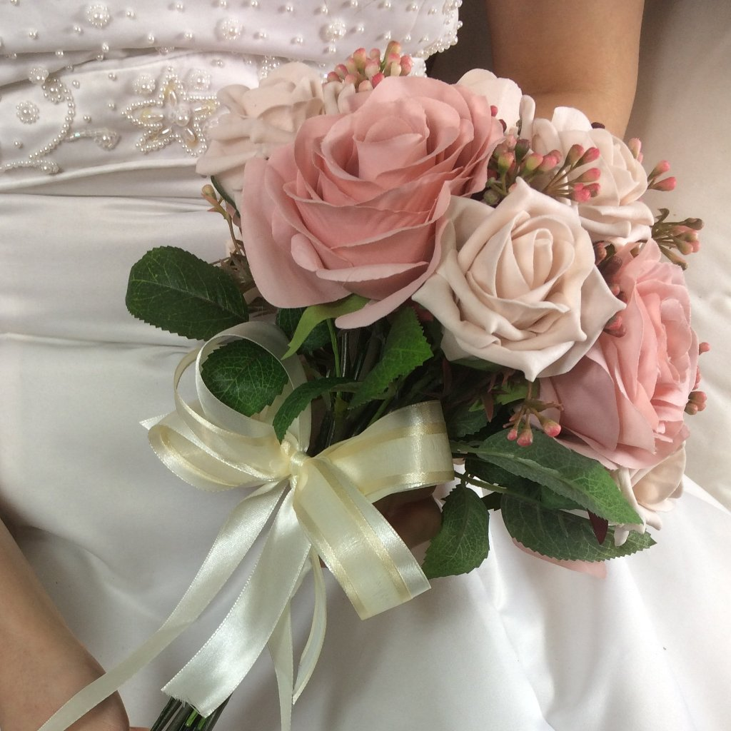 artificial dusky pink and mocha rose wedding bouquet
