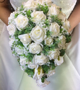 ivory foam rose wedding teardrop bouquet