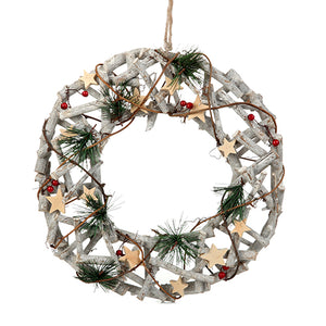 twiggy christmas wreath with wooden stars