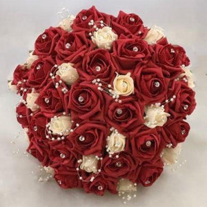 red and white foam rose wedding posy