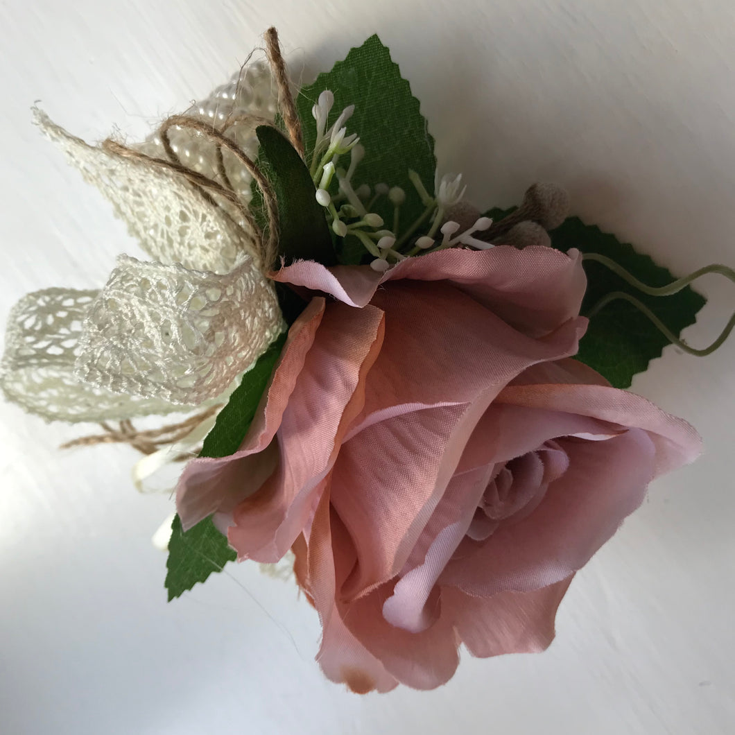 artificial mocha pink rose wrist corsage
