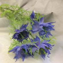 blue silk nigella flower spray