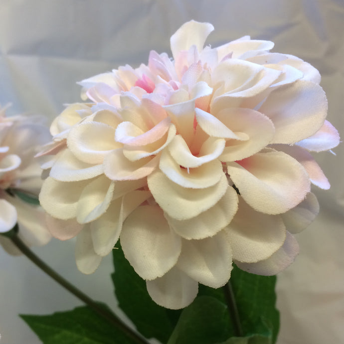 pink and cream zinnia dahlia silk flower