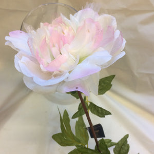 large silk peony flower in shades of pink and cream