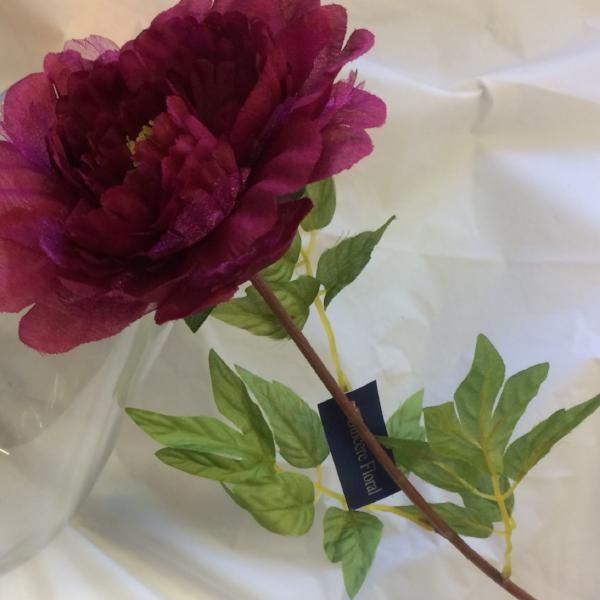 artificial burgundy silk and organza peony flower