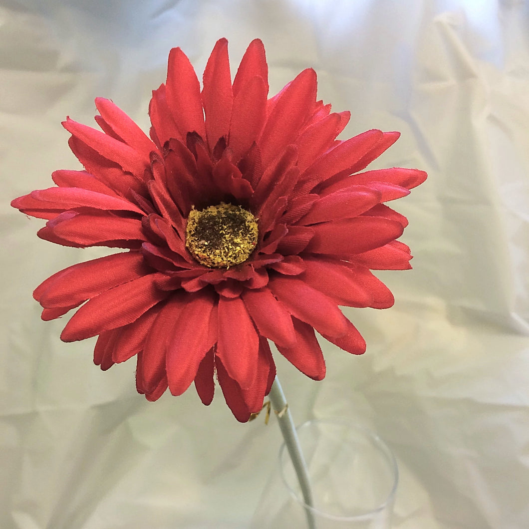 red silk gerbera flower