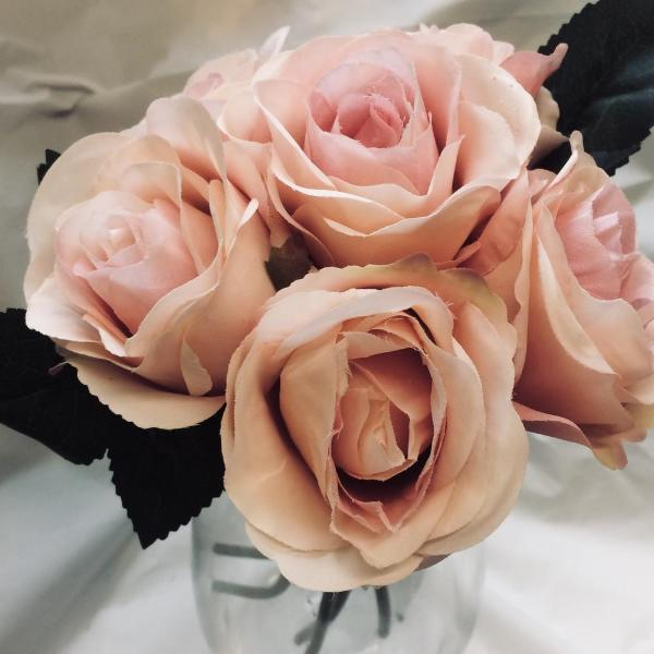 apricot silk rose flowers in a bunch