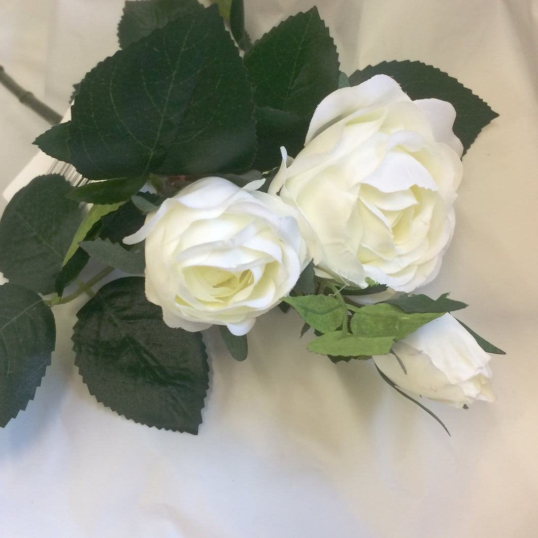 artificial silk white spray rose