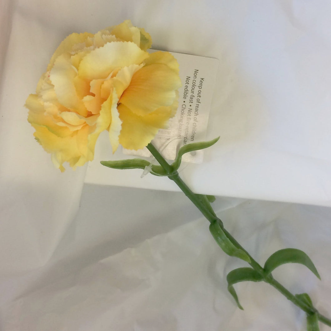 artificial silk yellow carnation flower