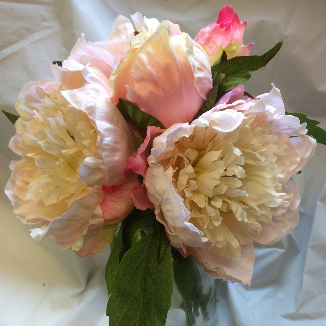 pink peach large silk peony flowers