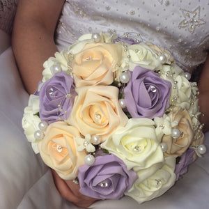 champagne and lilac foam rose wedding bouquet