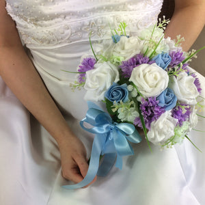 bridal bouquet of blue and lilac silk flowers