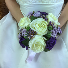 ivory and lilac and purple artificial wedding bouquet