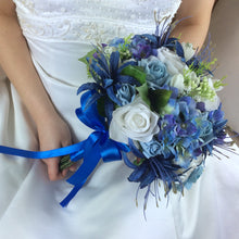 a bridal bouquet of blue and white flowers