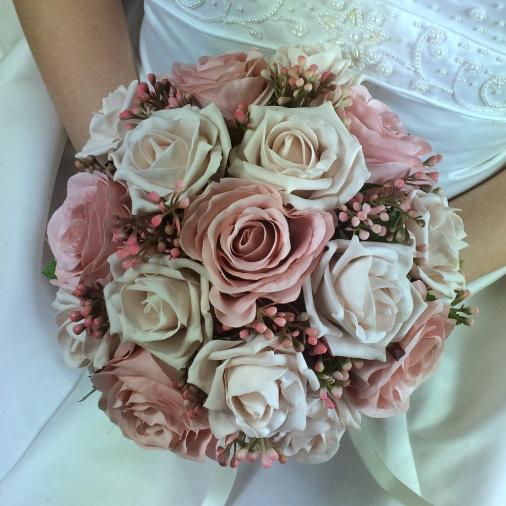 Artificial Wedding Bouquets.Artificial Wedding Bouquet Of Dusky Pink Rose Flowers