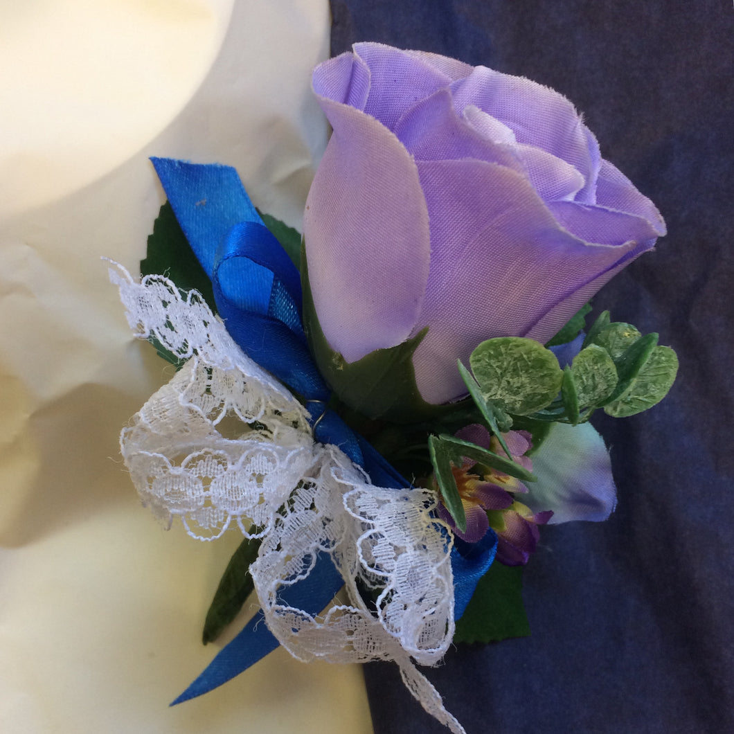 lilac silk rose buttonhole