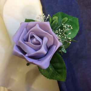 lilac foam rose buttonhole