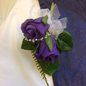 purple foam rose corsage