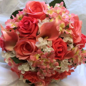 wedding bouquet using coral flowers