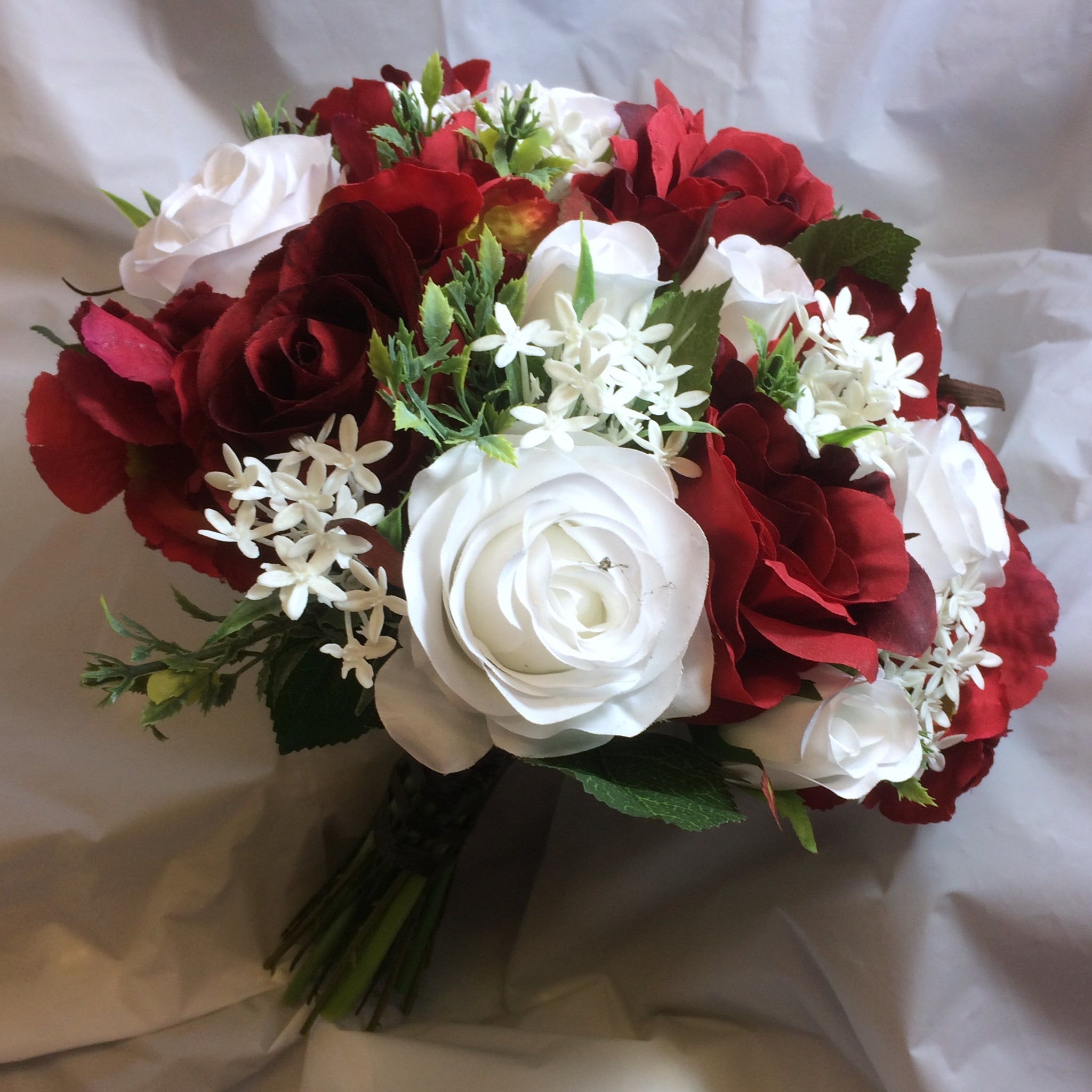 An Artificial Silk Bridal Bouquet Of Red And White Flowers Abigailrose