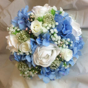 blue and white artificial wedding bouquet
