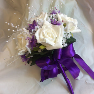 ivory and purple bridesmaids posy