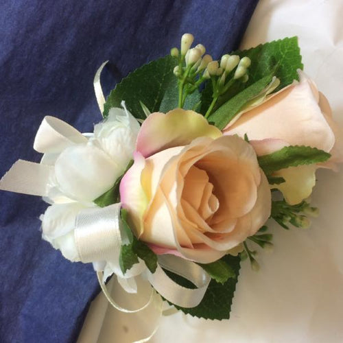 blush pink silk rose corsage