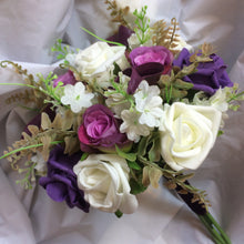 A Bouquet of ivory lilac & purple artificial Foam Roses & Calla Lilies