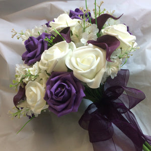 A Brides Bouquet of ivory & aubergine artificial Foam Roses & Calla Lilies