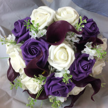 aubergine and ivory foam roses and calla lily wedding bouquet