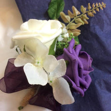 aubergine and ivory artificial rose corsage
