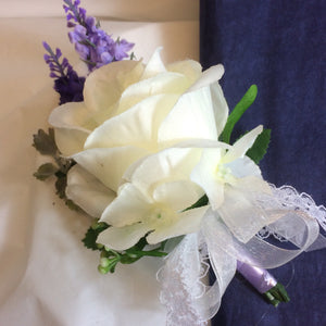 ivory rose and lavender wedding buttonhole