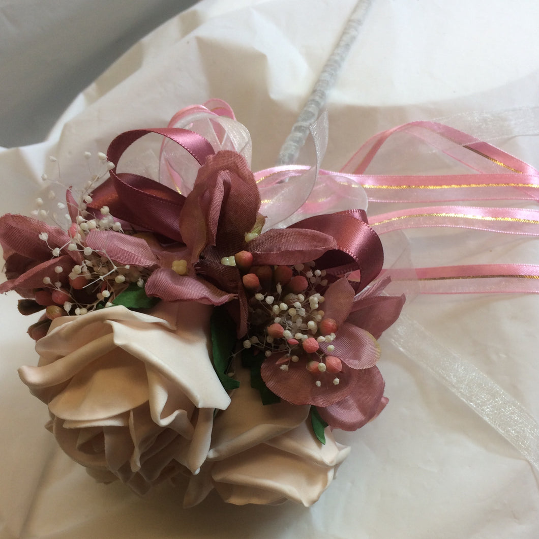 flower wand of mocha and dusky pink flowers