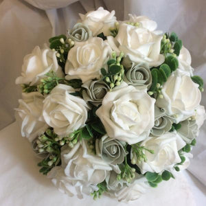 grey and white wedding bouquet
