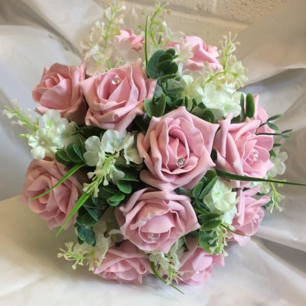 junior brides maids bouquet of pink foam roses