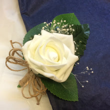 ivory foam rose buttonhole with dried gyp