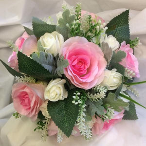 bridesmaids bouquet of pink roses and foliage