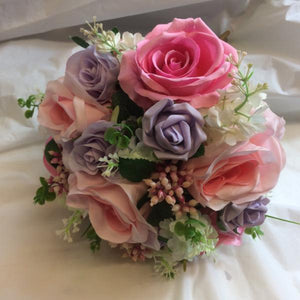 A brides or adult bridesmaids hand-tied bouquet of silk pink & lilac roses