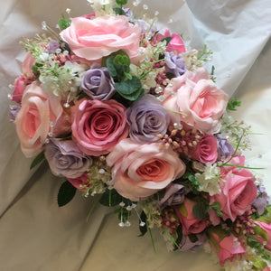 - A bouquet collection of silk pink and lilac roses & crystals