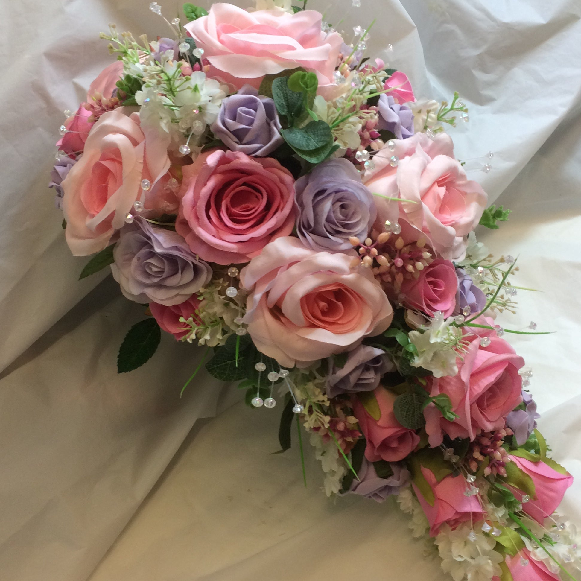A Teardrop Bouquet Of Silk Pink And Lilac Roses Crystals Abigailrose