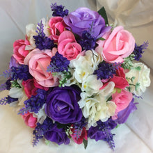 purple and pink artifiicial wedding bouquet