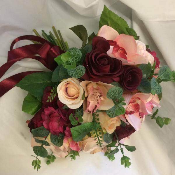 blush, burgundy, coral wedding flower bouquet
