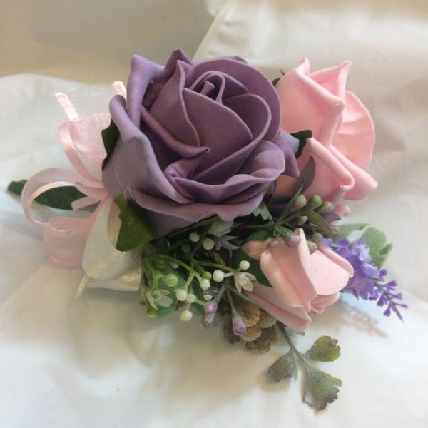 deep lilac and pink rose wedding corsage