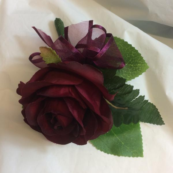burgundy silk rose flower buttonhole